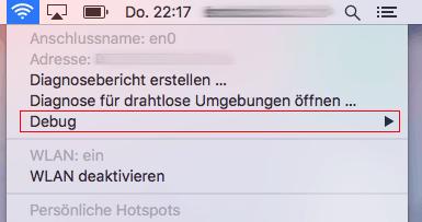 """Klick mit ALT-SHIFT. WLAN Menu Item: """"Debug"""" Untermenü"""